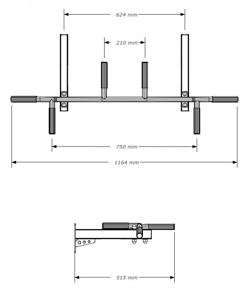 Hrazda na ribstol BenchK kovová PB23 rozměry