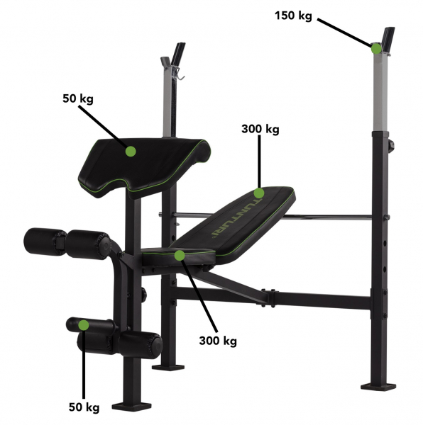 Posilovací lavice na bench press TUNTURI WB60 Olympic Width Weight Bench nosnosti
