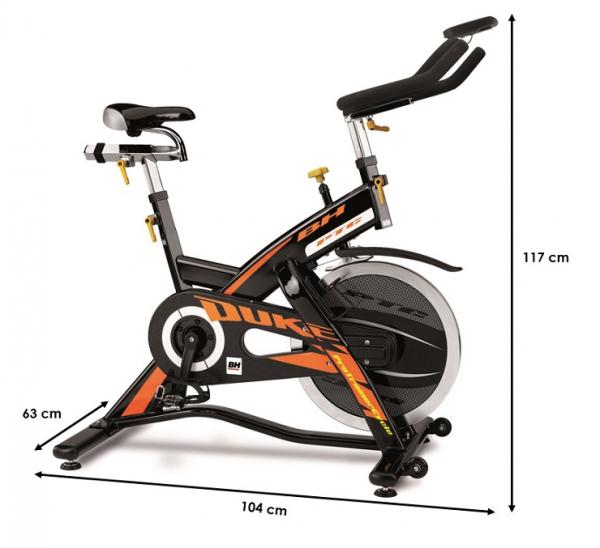 Cyklotrenažér BH FITNESS Duke Electronic rozměry