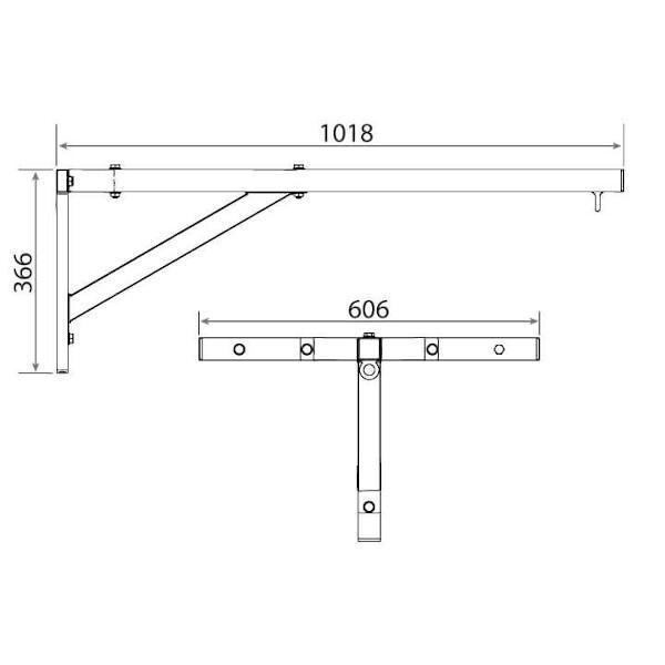 Nástěnný držák boxovacího pytle DBX BUSHIDO rozměry