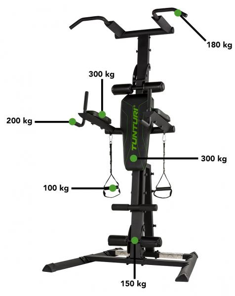 Posilovací lavice na břicho Tunturi Power Tower PT80 nosnost