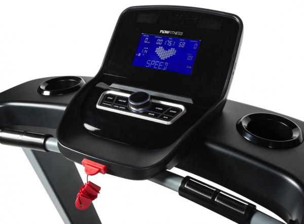 Běžecký pás FLOW Fitness DTM2500 počítač z profilu