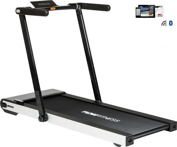 Běžecký pás FLOW Fitness DTM300i z profilu + app