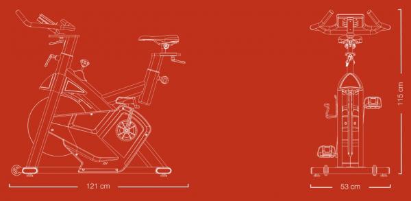 Cyklotrenažér Flow Fitness DSB600i rozměry