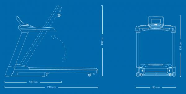 Běžecký pás Flow Fitness T2i rozměry