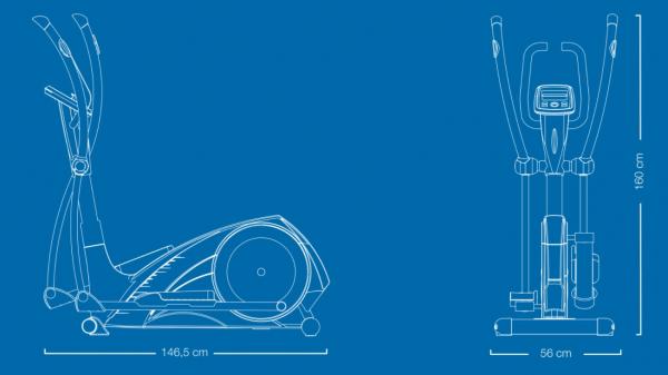 Eliptický trenažér Flow Fitness X2i rozměry