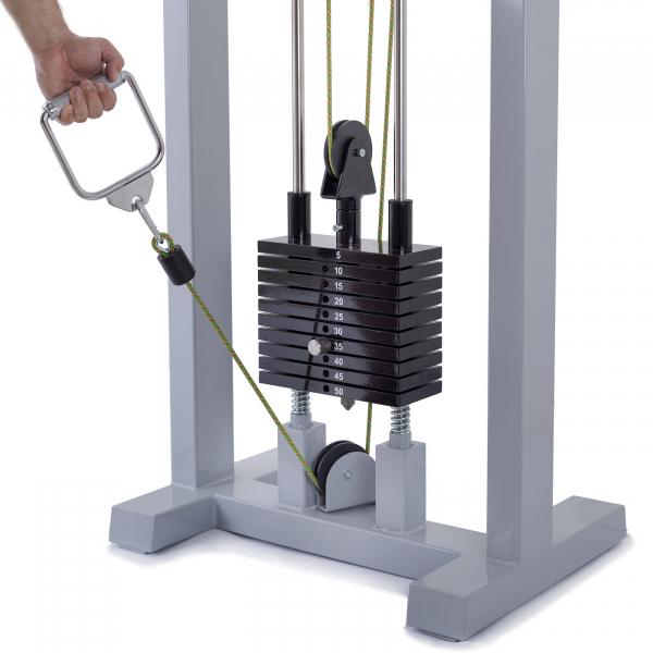 Kladkový stroj Protisměrná kladka s úzkou a širokou hrazdou FITHAM spodní kladka detail