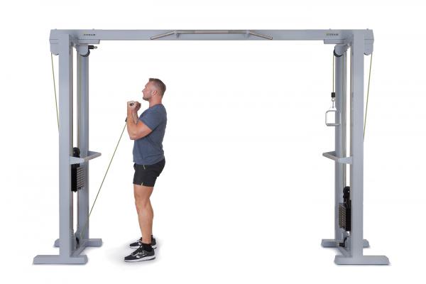 Kladkový stroj Protisměrná kladka s úzkou a širokou hrazdou FITHAM přitahování kladky na biceps