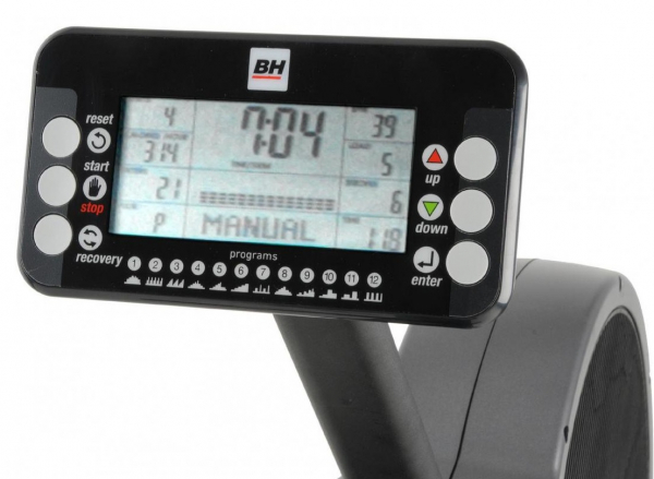 Veslovací trenažér BH Fitness Movemia RW1000 počítač z profilu