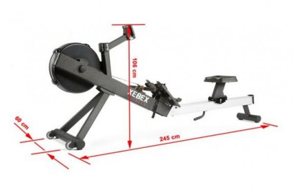 Veslovací trenažér Xebex Air Rower 3.0 rozměry.JPG