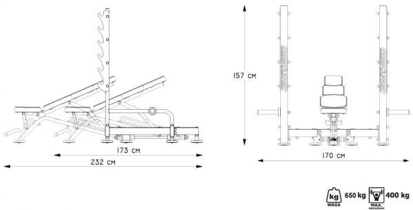 Posilovací lavice MARBO MP-L213 rozměry