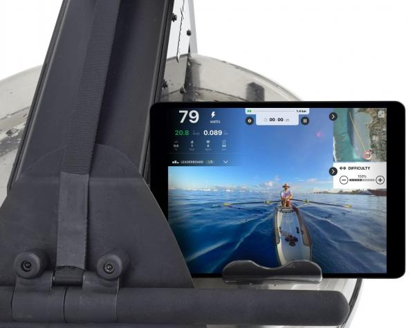 Veslovací trenažér Flow Fitness Perform W7i držák na tablet