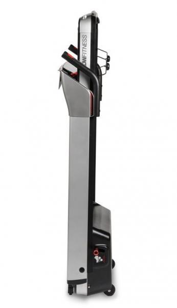 Běžecký pás FLOW Fitness DTM400i složený z boku