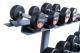 Stojan na jednoruční činky Rack Comfort TRINFIT - detail s činkami 2