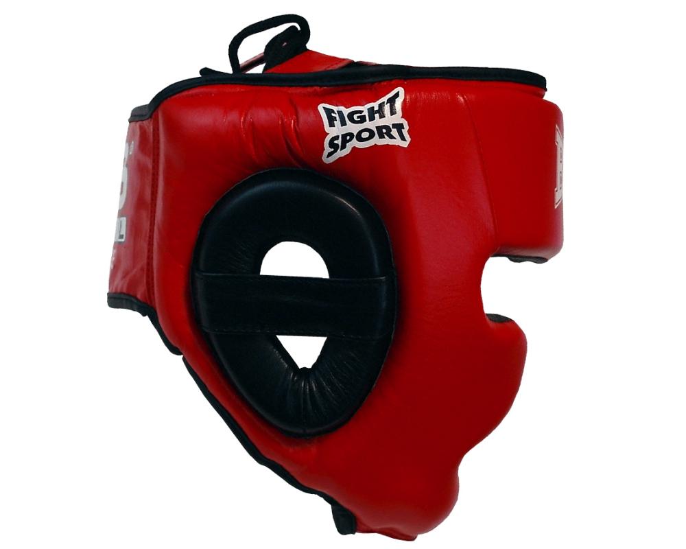 Boxerská přilba - kůže SPARRING - FIGHT červená BAIL strana