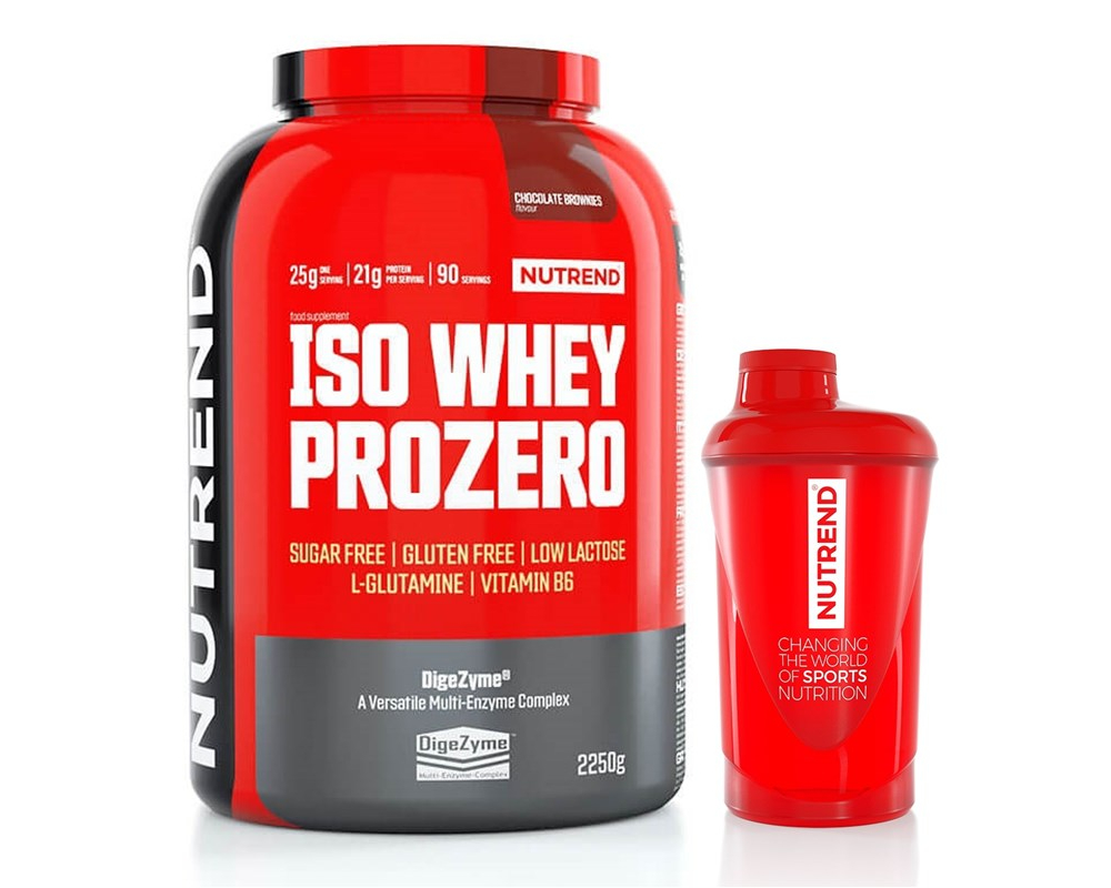NUTREND Iso Whey ProZero 2250 g + shaker + 5 vzorků proteinu ZDARMA